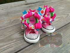 Items similar to Customized Bling Converse on Etsy Bling Converse, Bling Shoes, Bow Shoes, Kids Converse, Tutu Outfits, Girl Outfits, Sneakers Design, Pretty Little Girls, Kid Swag