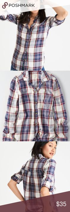 AEO Oversized Flannel Shirt Super cute and comfy plaid flannel shirt. Size small. Worn twice. Perfect for fall and winter! Tops