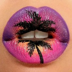 Summer Sunset Lip Art ♡♥♡♥♡♥ #makeup #LipArt #beauty #lips