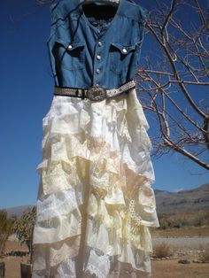 Cowgirl Shabby Lace Ruffled Dress - Size Large through XL - Farmgirl Country Wedding Dress - Bridesmaid Dress - Altered - Upcycled. $79.00, via Etsy.