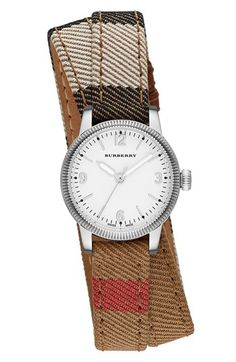 Burberry 'Utilitarian' Round Leather Wrap Watch, 30mm available at #Nordstrom - Burberry pattern + wrap watch = perfection