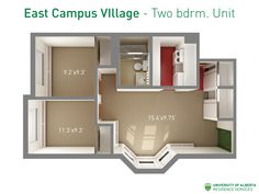 Floorplan with dimensions for two-bedroom units in East Campus Village. Small Tiny House, Tiny Houses, Walk Up Apartment, Apartment Checklist, University Of Alberta, Student Living, Two Bedroom, Hostel, Aspen