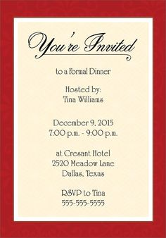 In Honor Of Party Invitation Templates  DinnerPartyInvitation