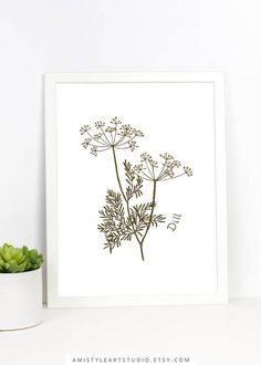 Kitchen Wall Decor - Printable hand drawn dill illustration for your kitchen by Amistyle Art Studio on Etsy Modern Prints, Art Prints, Herb Wall, Kitchen Wall Art, Ceramic Painting, Botanical Art, Handmade Shop, Printable Wall Art, Wall Decor