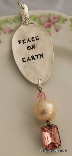 Peace on Earth VINTAGE SPOON ORNAMENT by SilverwareCreations, $26.00