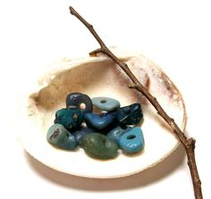 Sea Glass Pebbles Beach Stones  Turquoise Slag Glass by StoneMe, $24.00