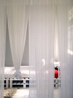 decor, pallet beds, curtains, bed frames, canopy beds, curtain divide bedroom, bedrooms, diy, room dividers