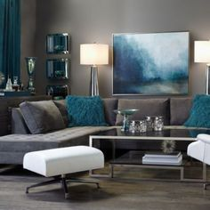 Take a Seat: our most chic sofas & sectionals create ideal lounging conditions. Teal Living Rooms, Living Room Decor On A Budget, Living Room Color Schemes, Beautiful Living Rooms, Living Room Colors, Home Living Room, Living Room Furniture, Living Room Designs, Grey Furniture