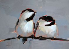 Two Chickadees no. 35 original bird oil painting by moulton 5 x 7 inches prattcreekart
