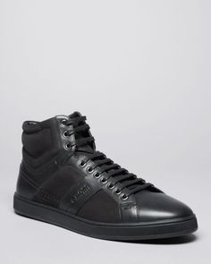 Boss Hugo Boss Acron Leather and Suede High Top Sneakers