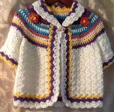 Little girls hand crochet sweater coat. This is adorable. Crochet Baby Sweaters, Crochet Baby Boots, Crochet Coat, Baby Girl Crochet, Crochet Baby Clothes, Crochet Cardigan, Cute Crochet, Crochet For Kids, Hand Crochet