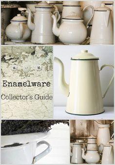 Farmhouse Friday - Vintage Enamelware - Knick of Time Vintage Decor, Vintage Antiques, Sweet Home, Vintage Enamelware, Vintage Kitchenware, Primitive Homes, The Collector, Aluminium, Farmhouse Decor