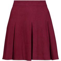Alice + Olivia Lee pleated suede mini skirt (£420) ❤ liked on Polyvore featuring skirts, mini skirts, bottoms, burgundy, suede skirt, purple pleated skirt, suede mini skirt, short skirts and purple mini skirt