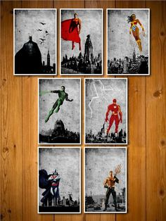 Justice League Poster Set by MINIMALISTPRINTS on Etsy