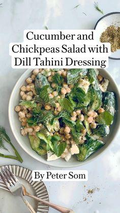 Healthy Salad Recipes, Vegetarian Recipes, Cooking Recipes, Clean Eating, Healthy Eating, Veggie Dishes, Vegan Dinners, Summer Recipes, Tahini