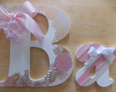Personalized Wooden Letters, Pink and Gold Floral Set, Nursery Letters, Little Girl's Room, Birthday Gift, Baby Shower Gift