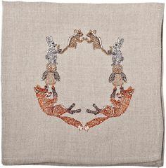 fox wreath dinner napkin by Coral & Tusk