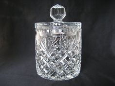 Vintage Crystal Clear Glass Cookie Jar with Lid Lidded Covered Large Candy Buffet Brilliant Cut Deep Pressed Elegant Round Heavy Container