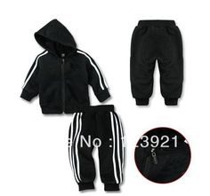 1sets baby girls boys striped sports clothing set girl's boy's black active 2pieces suits stripe hoody + pants clothes sets $16.56 - 19.56