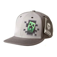 Minecraft Creeper Inside Premium Gray Snap-Back Hat - Entertainment Earth 1764947a629