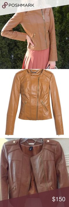 """White House Black Market Leather Jacket Cognac NWT New with Tag: White House Black Market Cognac Cropped Moto Jacket Size: XXS Gold buttons at shoulders; gold zipper detail at cuffs and pockets. Tag description of color is """"vachetta.""""  Measurements: Shoulder seam to seam: 14.75"""" Armpit to armpit: 16-16.5"""" Arm length (shoulder seam to cuff): 22.5"""" Waist at smallest: 14.25"""" (measured laid flat) Back seam to hem: 18""""  Smoke-free home. White House Black Market Jackets & Coats"""