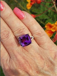 Moroccan Amethyst Cushion Solitaire with Diamonds Solid White Gold Gold Ring - Natural. I Love Jewelry, Jewelry Rings, Fine Jewelry, Unique Jewelry, Gold Gold, White Gold, Diamond Rings, Gold Rings, Cushion Solitaire