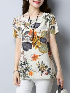 Fashionmia - Fashionmia Loose Split Neck Printed High-Low Blouse - AdoreWe.com