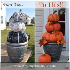 {when I seen this I thought it would be great idea for snowmen.. Santa.. Etc..mb} Cheap Easy DIY Outdoor Pumpkins... how about a giant Easter egg in a basket..mb