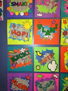 Onomatopoeia way pop art. Middle School Art, Art School, Art Carton, 5th Grade Art, Ecole Art, School Art Projects, Art Lesson Plans, Art Classroom, Art Activities