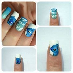 Stitch nails - Nail Art @Kristina Groppenbecker i love this post of yours..im stealing it!! ;)