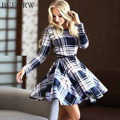BEFORW Autumn Winter Dress Fashion Lattice Long Sleeves Dresses Plus Size Women Clothing Casual Shirt Dress Vestidos Free Belt