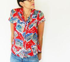 Sheer Vintage Summer Blouse/World Travel Camp Shirt/Bright Red Button Up Shirt