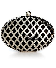 Jessica McClintock Handbag, Silver Minaudiere Evening Clutch