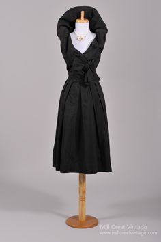 1950's Suzy Perette Black Cotton Vintage Party Dress ~ I absolutely adore the shawl collar!