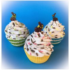 New Easter themed fake cupcakes just added with adorable chocolate bunny toppers.  Shop now!