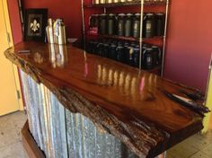 Home Bar Made With Reclaimed Barn Wood And Corrugated