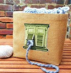 VINTAGE FRENCH WINDOW Knitting Crochet Craft Bag Storage Organiser Basket Unique Jute Hessian Burlap Natural Cotton Canvas Handmade Gift by KnittingBagAndCase on Etsy https://www.etsy.com/listing/459380862/vintage-french-window-knitting-crochet