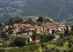 Het middeleeuwse Montefioralle in de buurt van Greve in Chianti