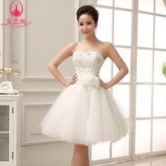 primavera vestido de noiva curto saia folhada princesa bandage dress tubo superior branco vestido formal vestido de noiva curto 52.00