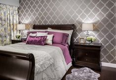 Bedroom: Modern Bedrooms With Large Glass Windows And Sheer Curtain Plus Cozy White Bed Also White Round Table And Gucci Wallpaper Plus Pendant Lighting Also Beige Shag Carpet And Round Mirror
