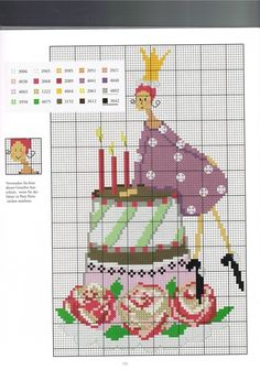 0 point de croix femme et gateau d'anniversaire - cross stitch woman and birthday cake