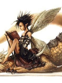 ☆ Lecture -Detail- Artist David Revoy ☆ Are you kidding me? A fairie...on a dragon...reading a book? This is my version of HEAVEN! (I am the Fairie of course)