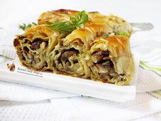 Placinta de post cu ciuperci la cuptor Spanakopita, Pulled Pork, Appetizers, Mexican, Snacks, Unt, Ethnic Recipes, Food, Pie