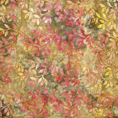 1/2 yard - Bon Voyage Batiks Gold/Rose Leaves on Mottled Green by Laundry Basket Quilts for Moda Fabrics by lavendarquilts on Etsy
