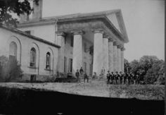 The Lee Mansion at Arlington, Virginia, with Union troops, 1864.  The state of Virginia's position in the American Civil War echoed that of the state's most prominent citizen during this turbulent era, one whose name would become synonymous both with the state and the war: General Robert E. Lee. Like his home state of Virginia, Lee had been an important part of the Union before the war; he counted among his family's antecedents no less than George Washington.
