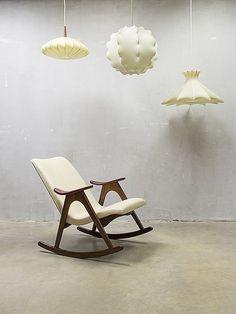 vintage design schommelstoel rocking chair Webe Louis van Teeffelen