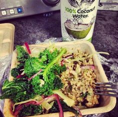 An #instagram submission a post workout meal consisting of Teriyaki Salmon, Kale, Brown Rice and Go Coco #GoCoco #CoconutWater #Coconut #Rehydrate #Health #Nutrition