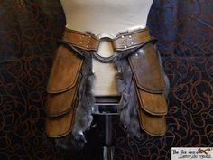 leather armor female belt larp fur