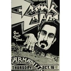 """Poster by Micael Priest.  Frank Zappa """"One Last Time..."""", Armadillo World Headquarters, Austin."""