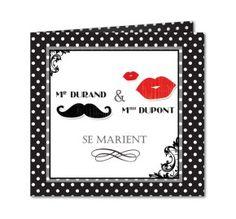 faire part mariage moustache bouche